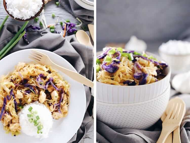 Do you ever want the flavors of take out, but way healthier?! This spaghetti squash chicken chow mein is legit with all the flavor and none of the nonsense! Paleo + Gluten-Free.   realsimplegood.com