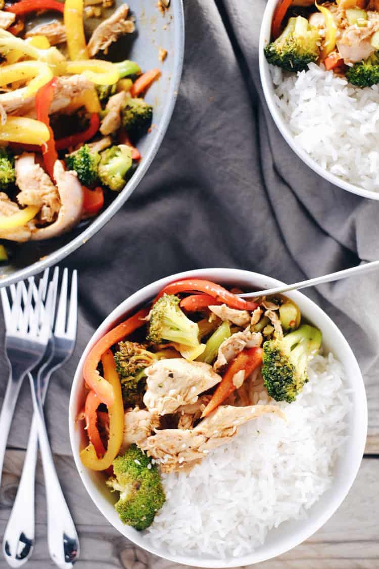 Fridge full of Thanksgiving leftovers? Make our Paleo + Whole30 leftover turkey stir-fry. It is full of color and flavor with peppers, broccoli and garlic! Paleo, Whole30, Gluten-Free + Refined Sugar-Free. | realsimplegood.com