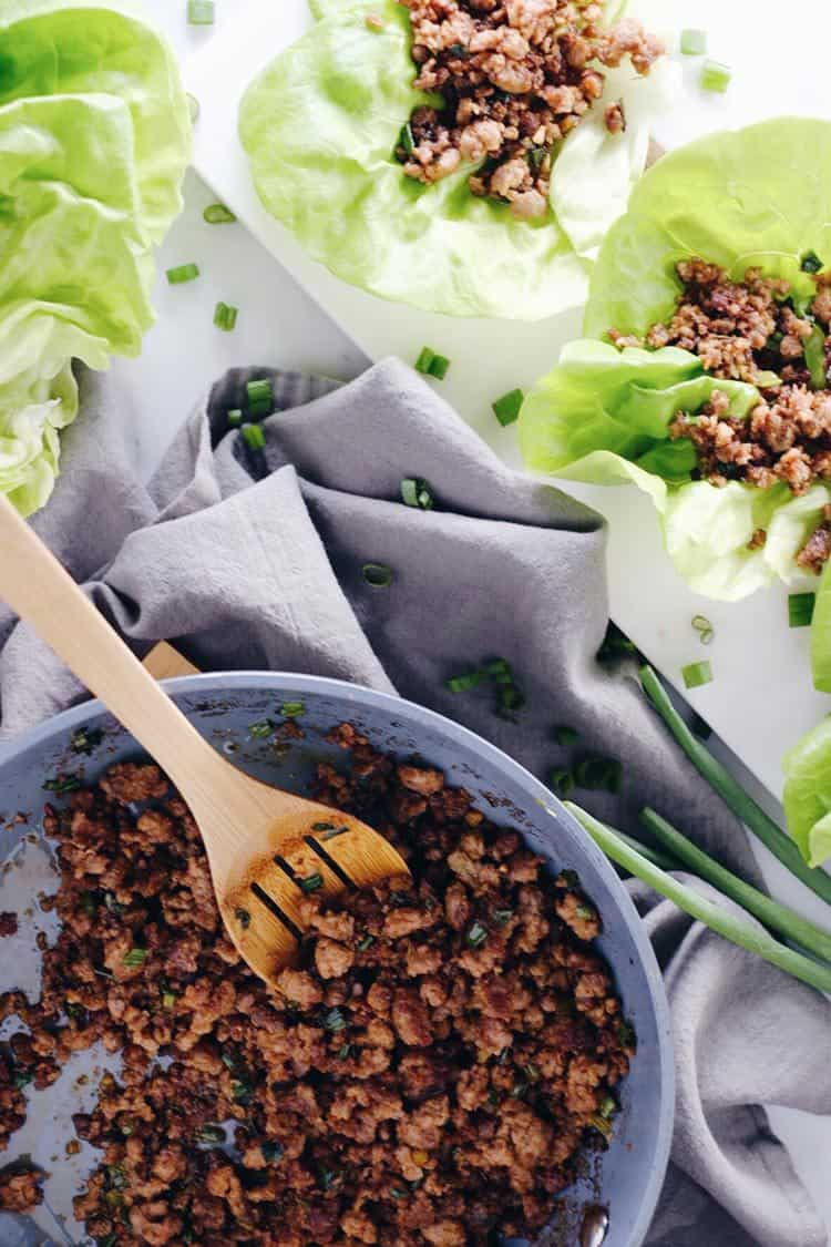 These pork lettuce wraps are tasty and quick to make, which is the best combo! Only 15 minutes and seven ingredients, an easy Paleo + Whole30 meal! Paleo, Whole30, Gluten-Free + Soy-Free. | realsimplegood.com