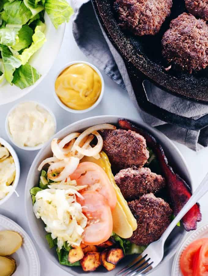 Mini Burger Bowls (Paleo, Whole30 + Dairy-Free)