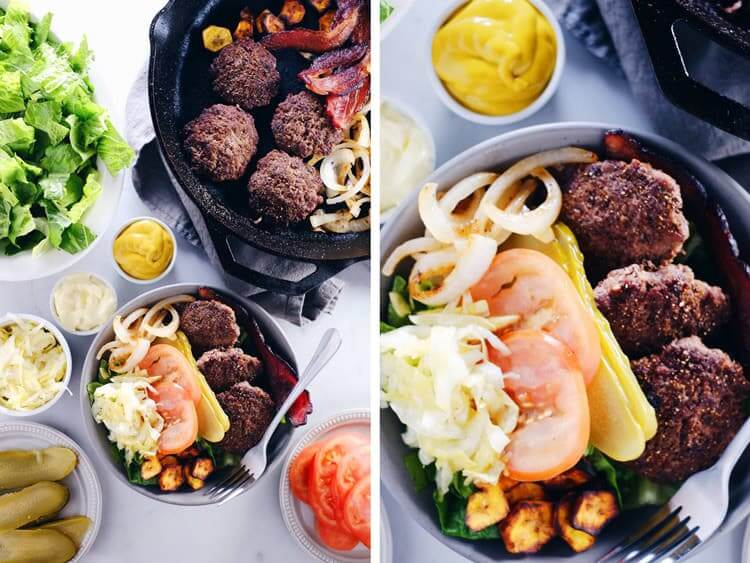 These Paleo + Whole30 mini burger bowls are simple, easy to throw together and full of what you need and want - healthy fats, protein, veggies and greens! Paleo, Whole30, Gluten-Free + Dairy-Free. | realsimplegood.com
