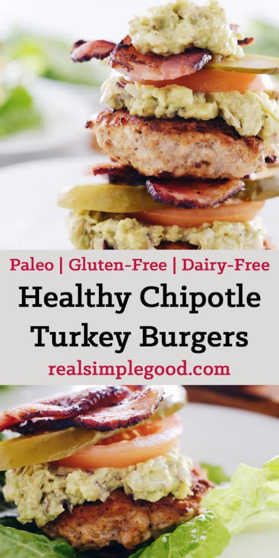 These chipotle turkey burgers are an easy way to enjoy Paleo + Whole30 burgers with smoky flavor, bacon and easy guacamole! Paleo, Whole30, Gluten-Free + Dairy-Free. | realsimplegood.com