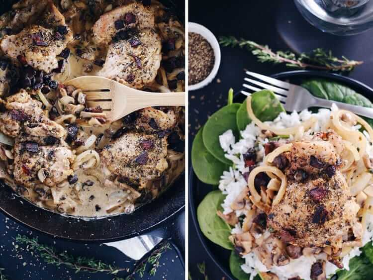 This creamy bacon mushroom chicken skillet is rich and velvety all while being Paleo + Whole30 and packed with healthy fats. Plus, it is a one pan recipe! Paleo, Whole30, Gluten-Free, Dairy-Free + Whole30. | realsimplegood.com