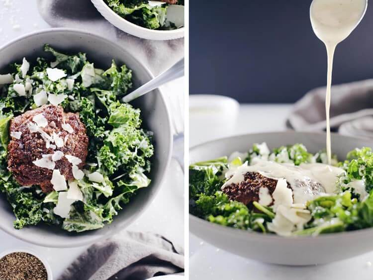 This kale caesar burger bowl is so satisfying with a Paleo + Whole30 caesar dressing and optional cheese topping. Quick, easy and great any meal of the day. Paleo, Whole30, Gluten-Free + Dairy-Optional. | realsimplegood.com