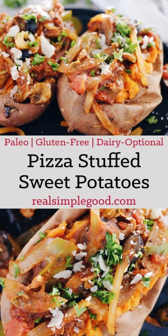 These pizza stuffed sweet potatoes are an easy way to get all the pizza flavors you crave in a Paleo + Whole30 compliant recipe! The dairy is completely optional. Paleo, Whole30 +Gluten-Free. | realsimplegood.com