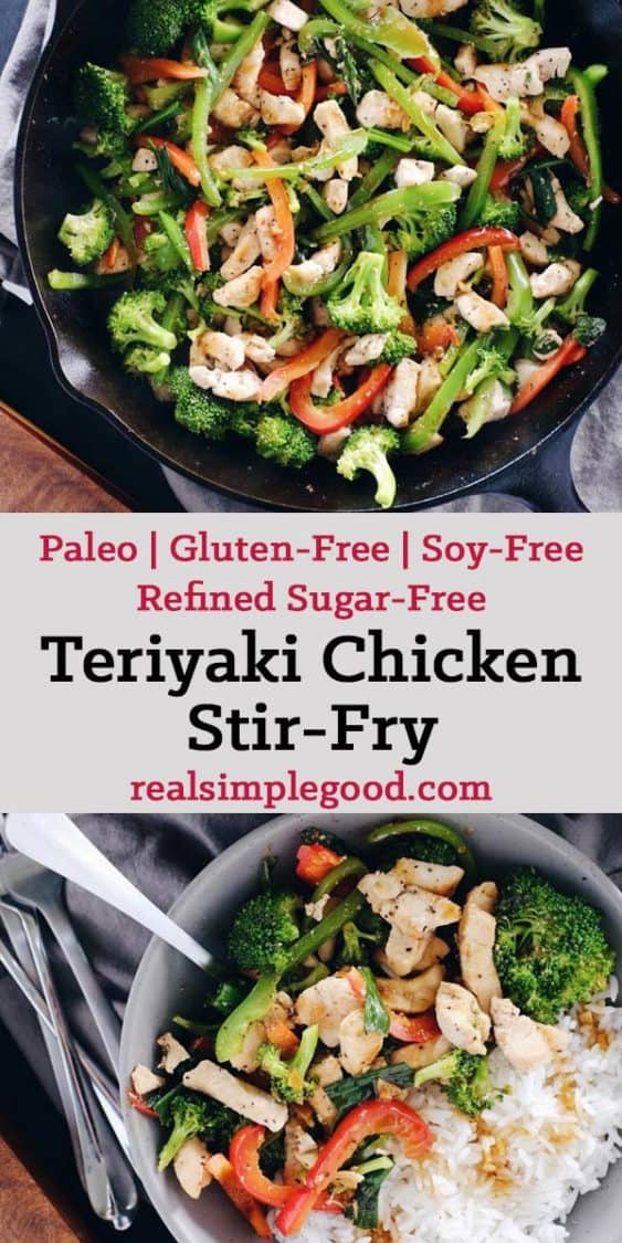 As far as Paleo makeovers go, this teriyaki chicken stir-fry was due! It's super simple, yet bursting with flavor from the garlic, ginger and fresh veggies! Paleo, Gluten-Free, Soy-Free + Refined Sugar-Free. | realsimplegood.com