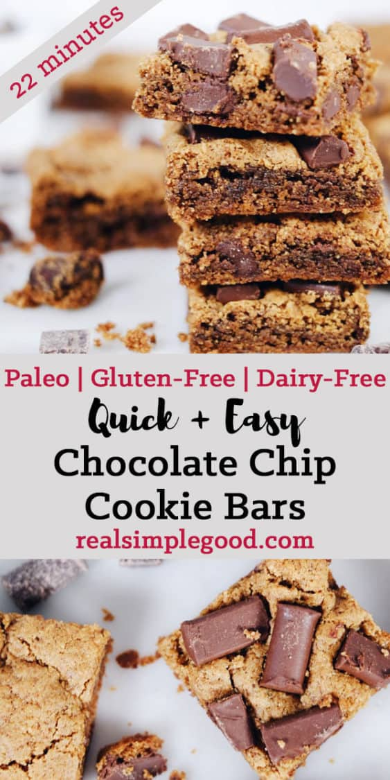The best treats are ones ready to enjoy with minimal time and effort, which is exactly what these gluten and dairy-free chocolate chip cookie bars are! Paleo, Gluten-Free + Dairy-Free. | realsimplegood.com