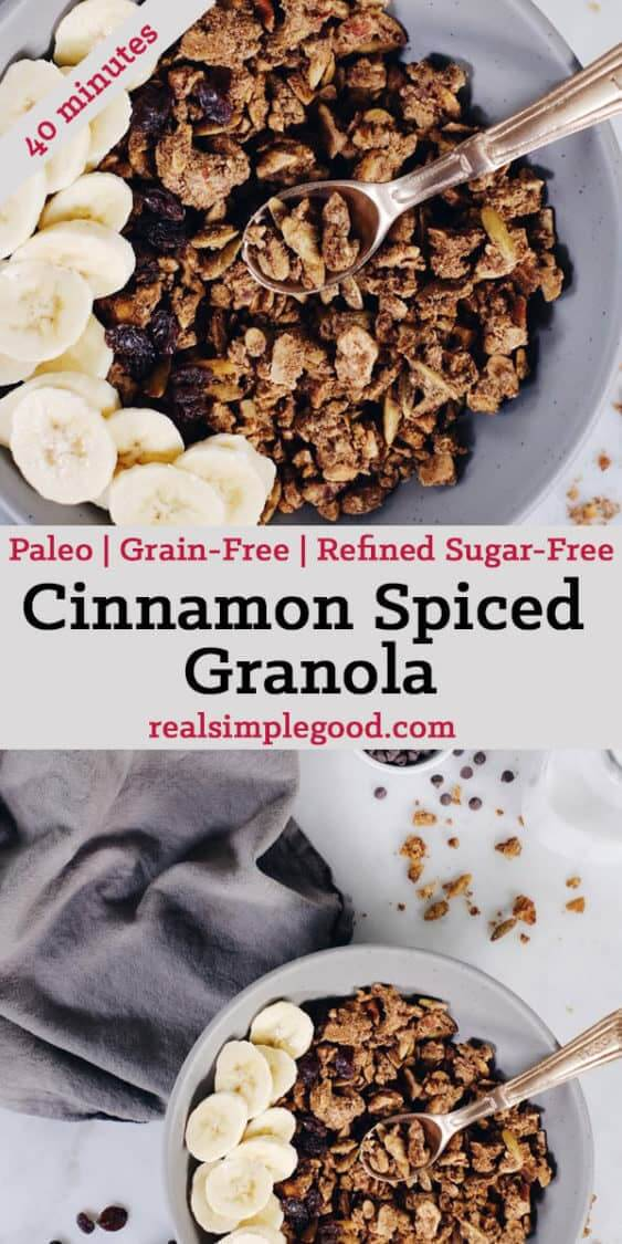 If you've never made your own granola, you must try! This Paleo cinnamon spiced granola is easy and so worth it! It's a grain-free version you'll love! Paleo, Grain-Free, Gluten-Free + Refined Sugar-Free.   realsimplegood.com