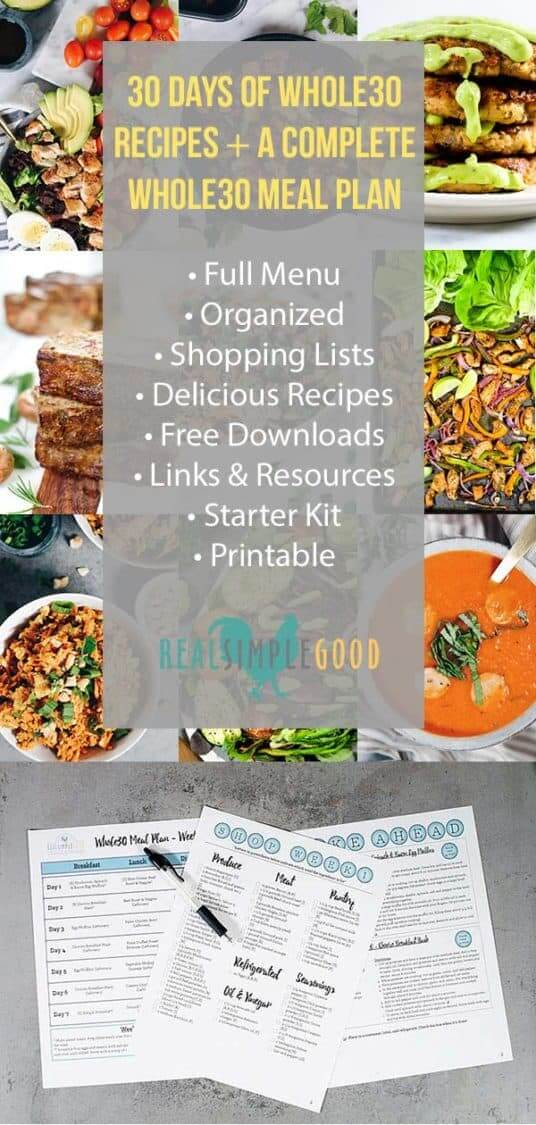 Whole30 food list meal plan collage with text and meal plan photo at bottom