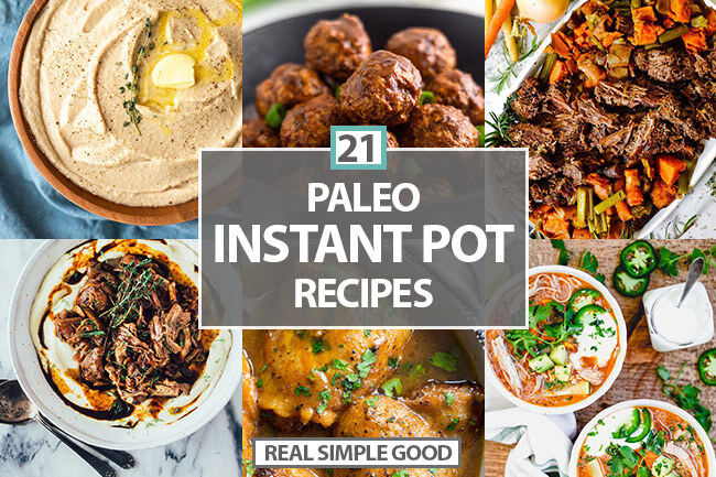 Paleo instant pot recipes horizontal image collage with text in middle