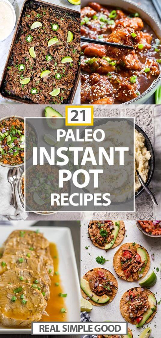 Paleo instant pot recipes vertical image collage with text in middle