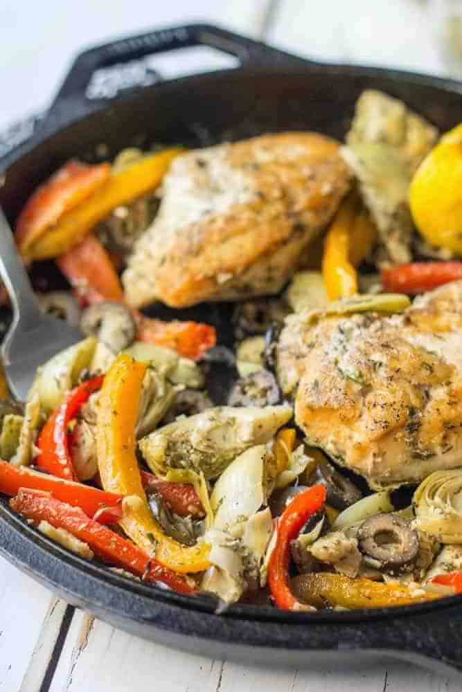 Greek chicken skillet with bell peppers and artichokes
