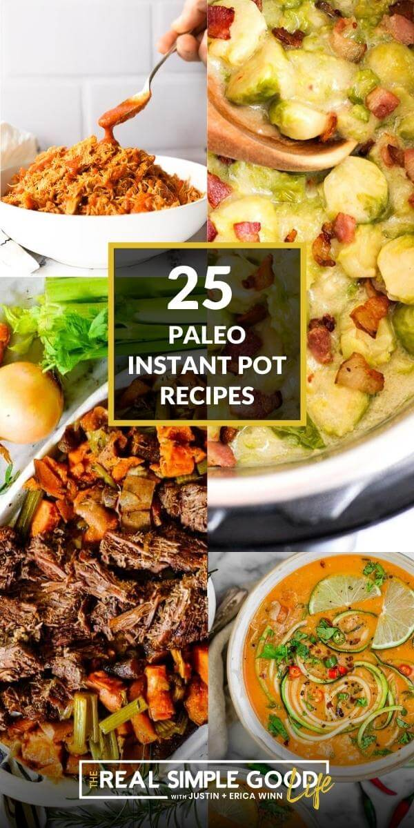 Collage image of 4 different instant pot recipes with text overlay in middle