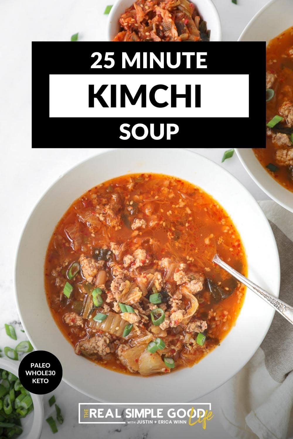 Vertical image with text overlay at the top. Close up of bowl of kimchi soup.