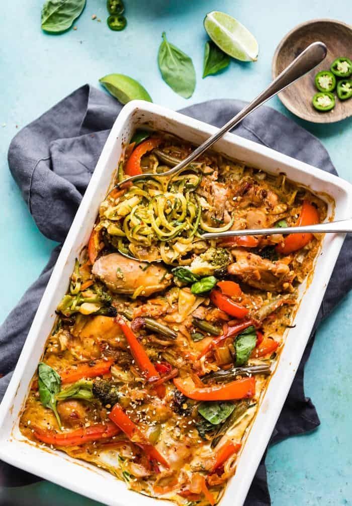 Drunken zoodle chicken casserole overhead picture with spoons - healthy casseroles
