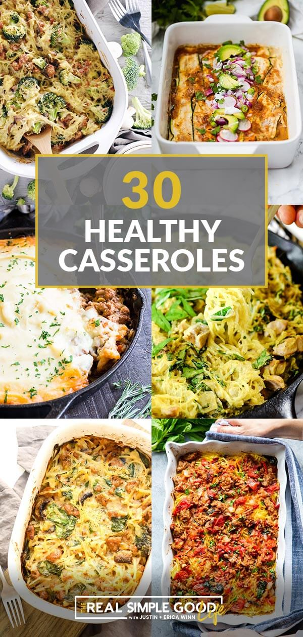 Collage of 6 casseroles with text overlay of 30 healthy casseroles