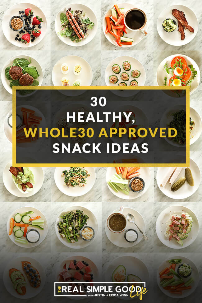 Collage image of 24 individual plates with snacks on them with text in the middle saying 30 healthy whole30 approved snack ideas