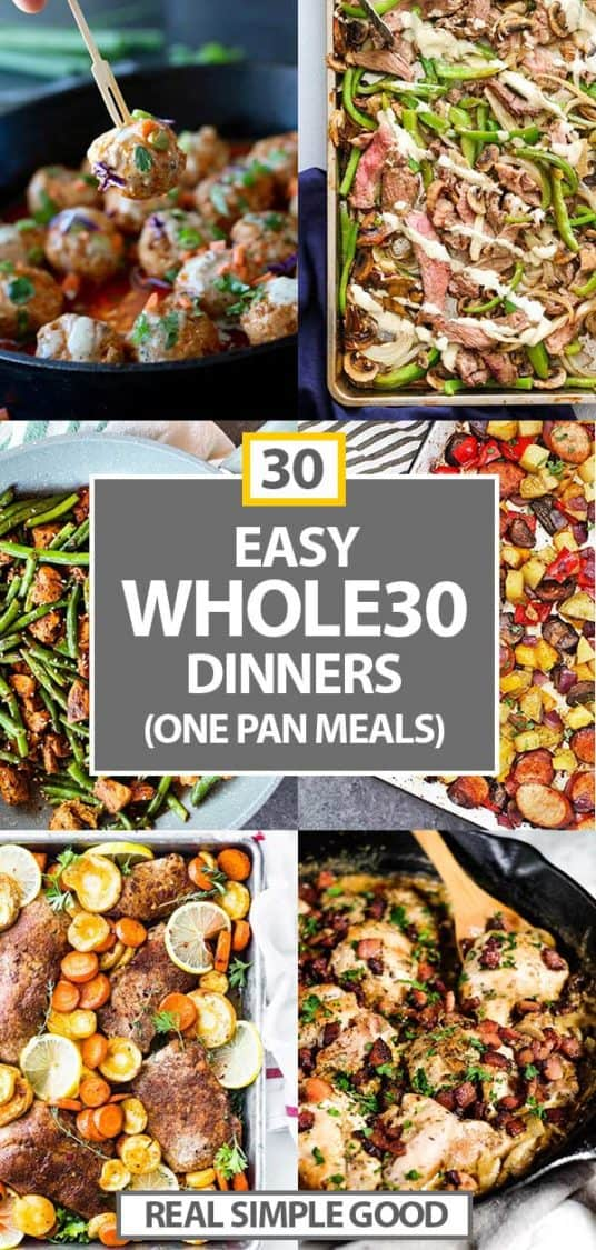 30 one pan meals vertical collage with text in the middle