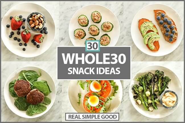 Whole30 Snacks collage horizontal image with text in middle