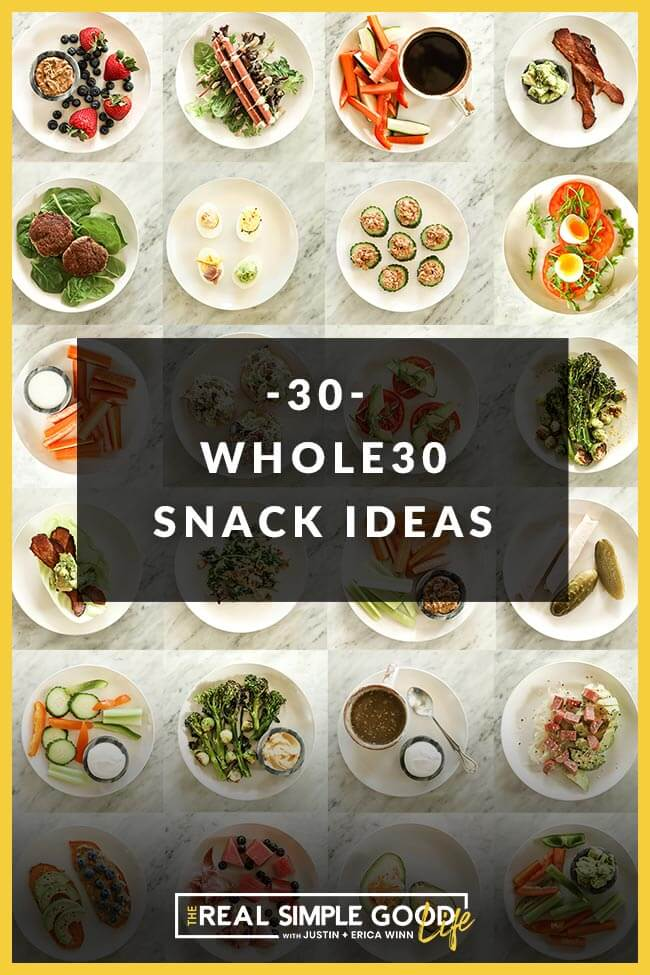 Whole30 Snacks collage vertical image with text in middle