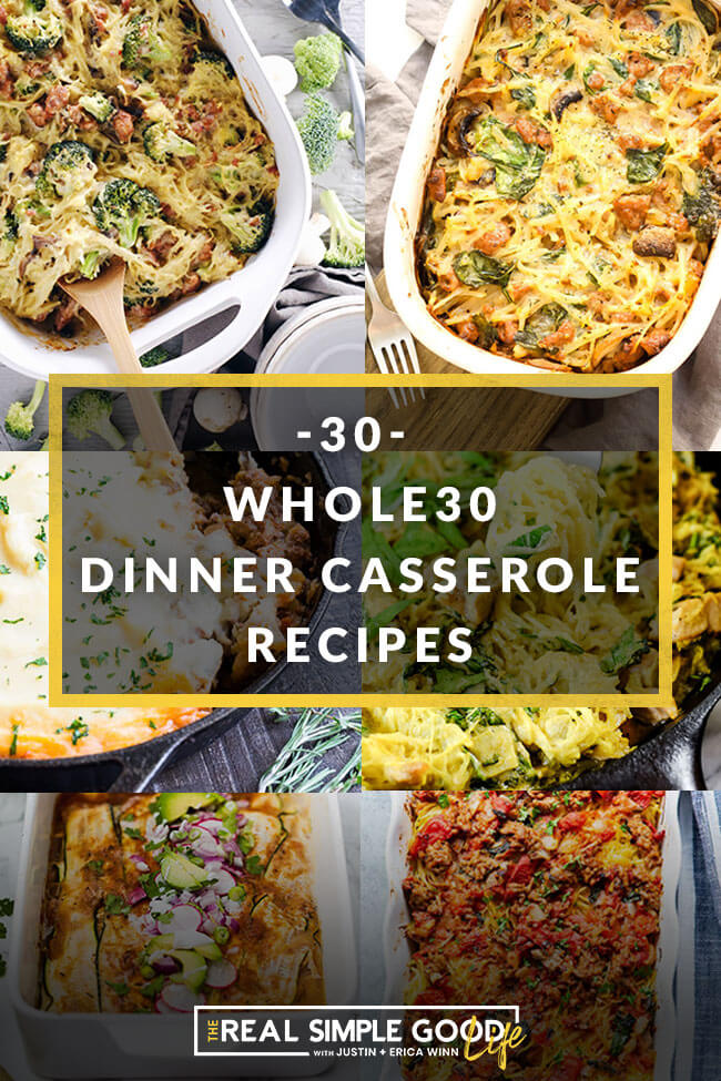 30 whole30 dinner casseroles collage with text overlay.