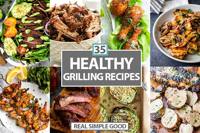 collage of grilled recipes with text overlay in the middle.