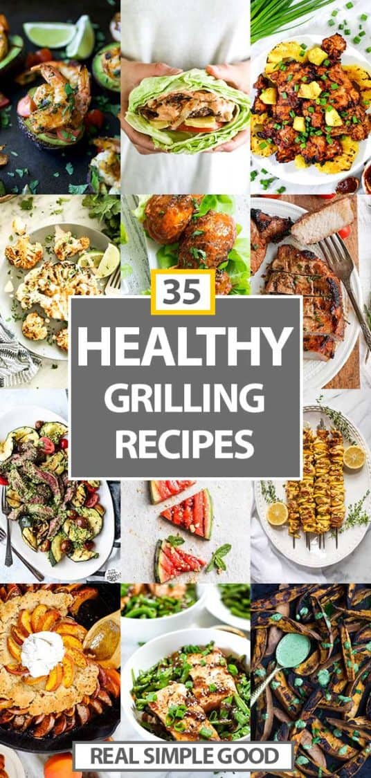 Collage of grilled recipes included in the roundup with text overlay in the middle for pinterest.