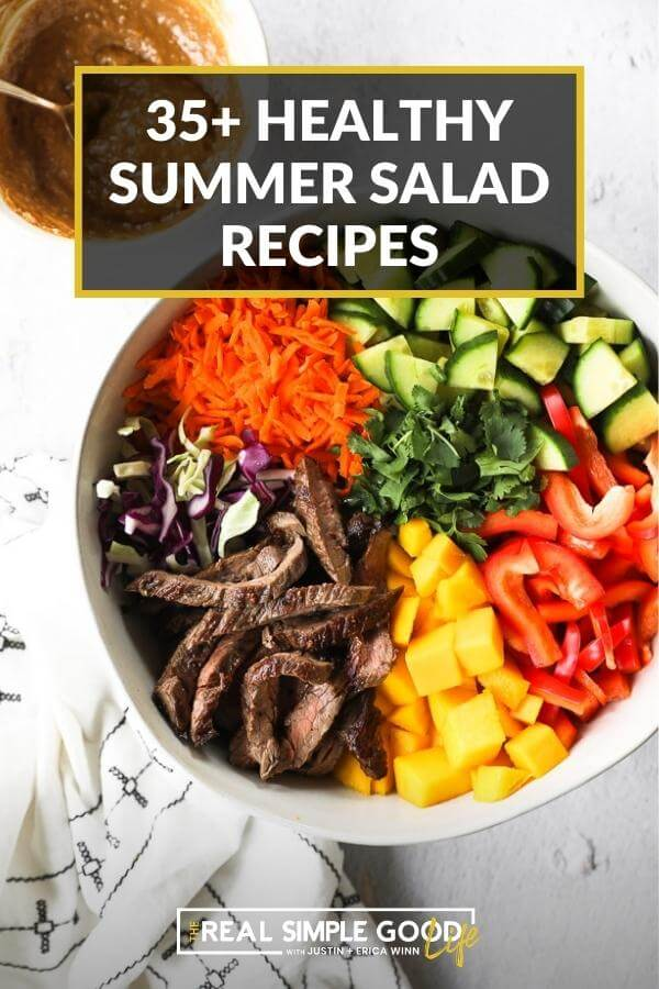 Summer salad recipes cover image of thai beef salad with steak, mango, cucumber, cabbage, carrots and bell pepper