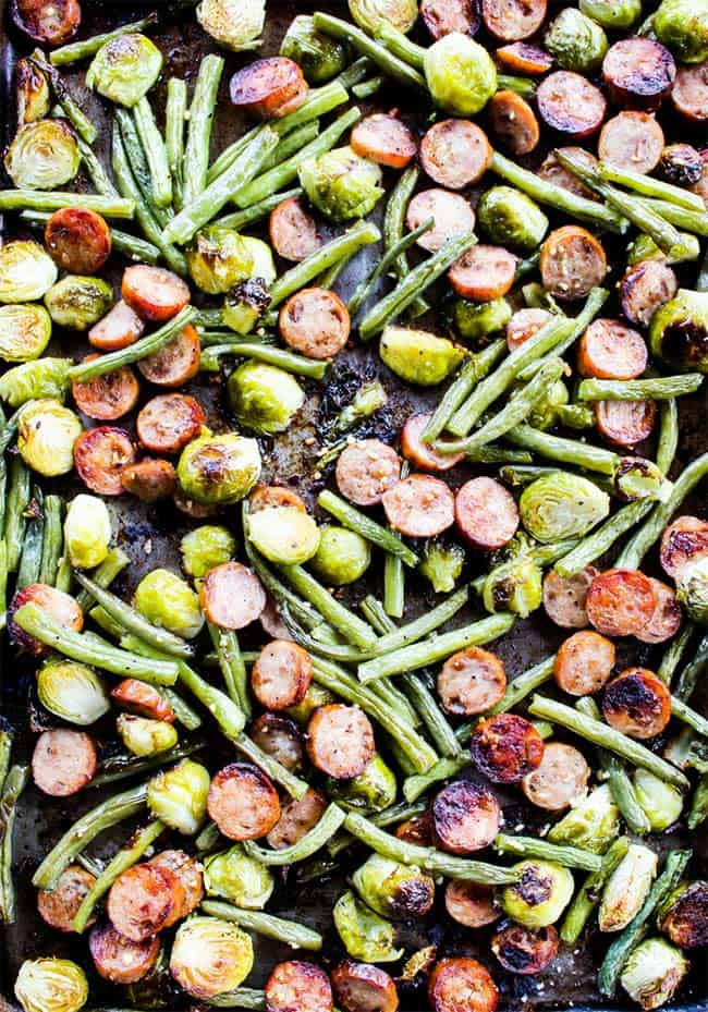 Sheet pan with sausage, brussels and green beans