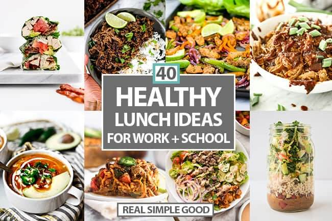 Healthy lunch ideas for work or school horizontal collage with text in the middle