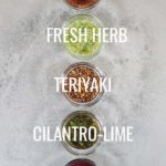 Overhead image of 5 easy and healthy homemade marinades in ramekins in a line with text name overlay over each one
