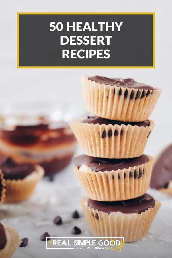 """Stack of 4 coconut butter cups with text overlay at top of """"50 healthy dessert recipes"""""""