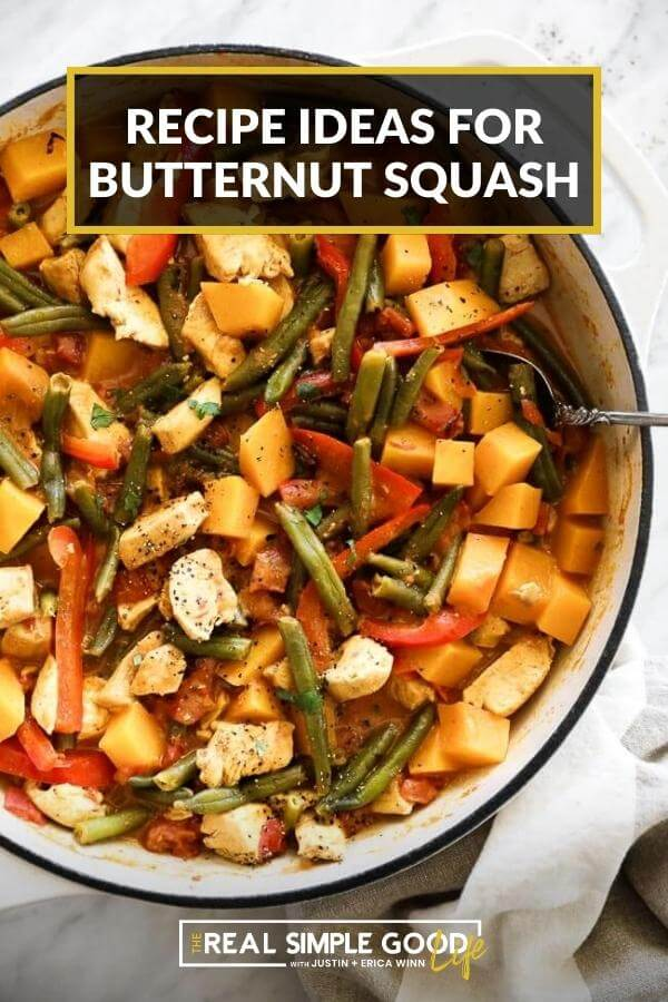Overhead shot of butternut squash curry with text overlay at top of recipe ideas for butternut squash
