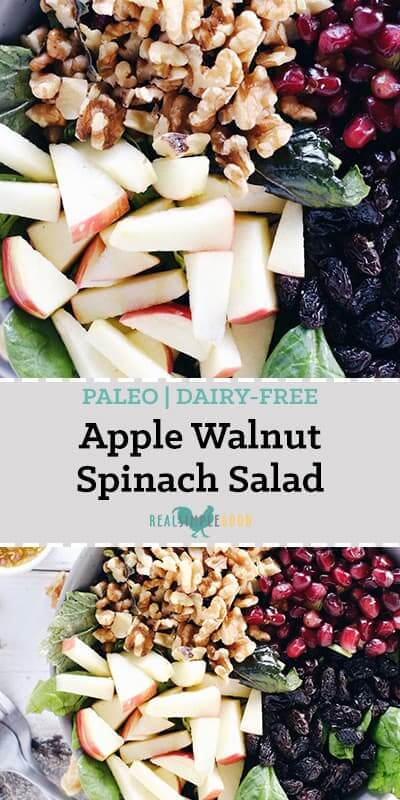 Apple walnut spinach salad long pinterest image with text
