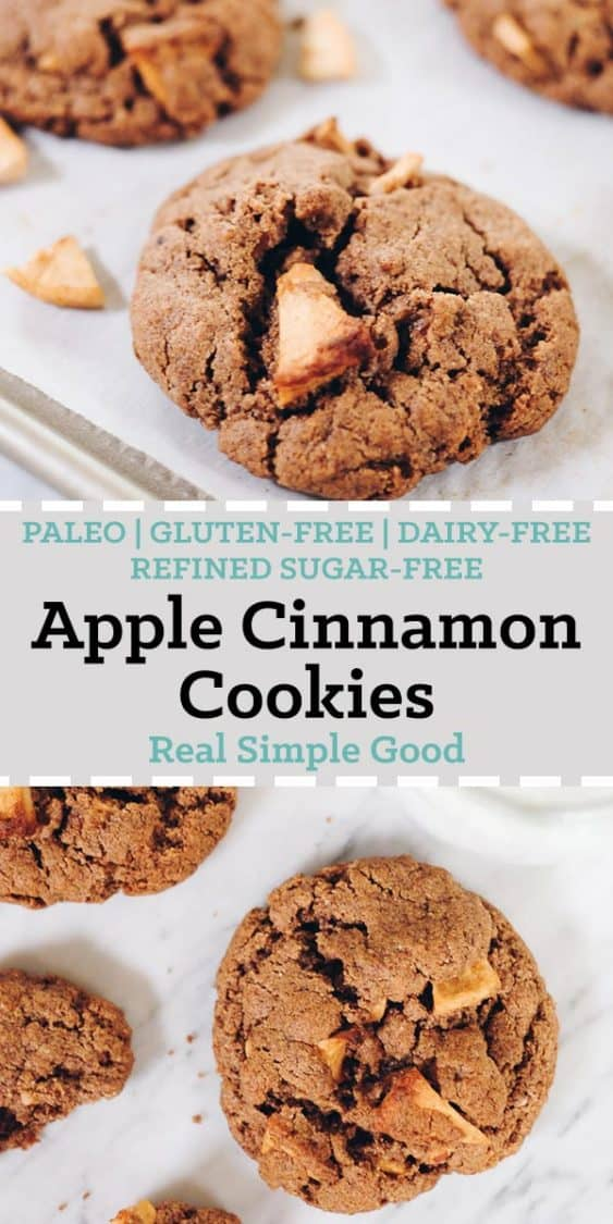 Moist and delicious, these Paleo Apple Cinnamon Cookies are an easy to make treat! They're sure to be a new favorite for your family! Paleo, Gluten Free, Dairy Free and Refined Sugar Free. | realsimplegood.com