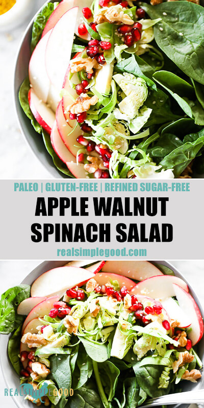 Two close up vertical images of apple walnut spinach salad in bowls with text overlay in the middle.