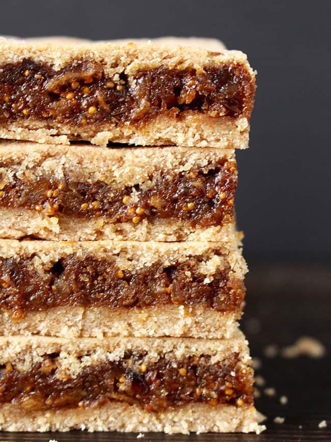 Close up of stack of four paleo fig newtons