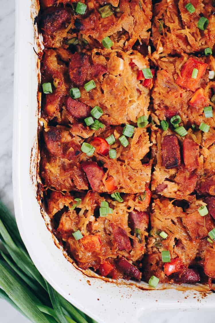 We love when spaghetti squash is in season, so we can make this Paleo BBQ Chicken Casserole. It's a cleaner and healthier way to enjoy total comfort food! Paleo, Gluten-Free, Dairy-Free + Refined Sugar-Free. | realsimplegood.com
