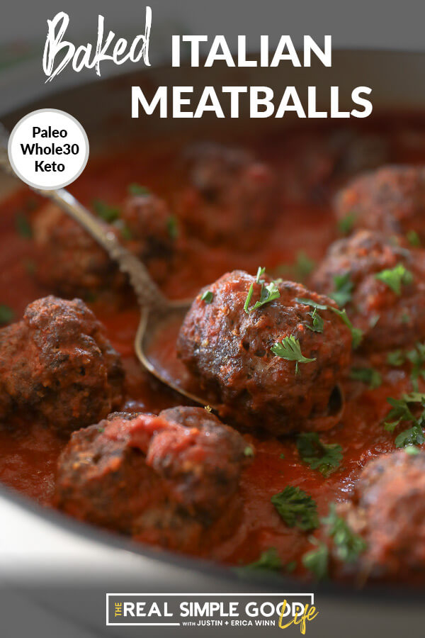 Close up of Italian meatballs in a skillet with marinara sauce and spoon scooping up one meatball. Text overlay at the top.