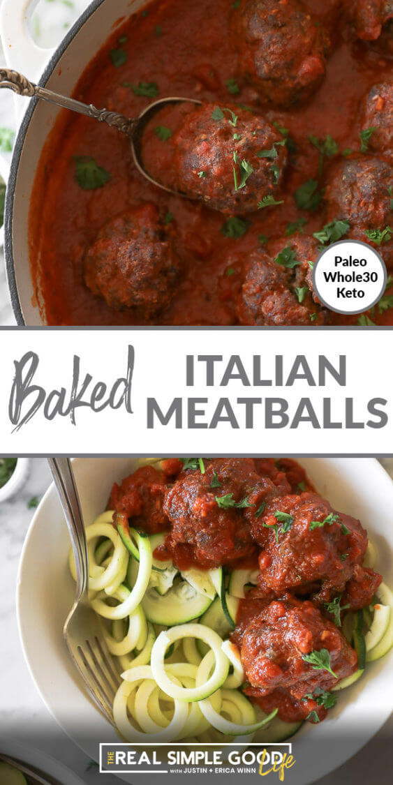 Two vertical images of Italian meatballs with text overlay in the middle. Top image of meatballs in a skillet with a serving spoon and bottom image served in a bowl over zoodles.