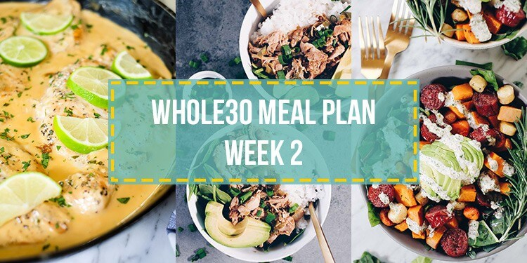 Whole30 food list meal plan week 2 collage