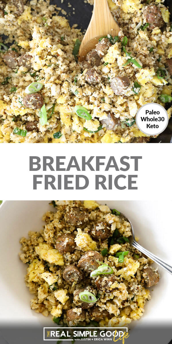 Two vertical images stacked with text overlay in the middle. Top image is close up of fried rice in skillet with wooden spoon. Bottom image is served in a bowl with a fork.