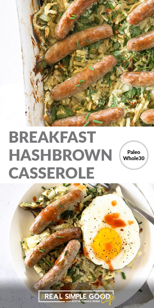 Vertical split image with text overlay in the middle. Top image is close up of breakfast casserole in serving dish. Bottom image is served on a plate with a fried egg on top.