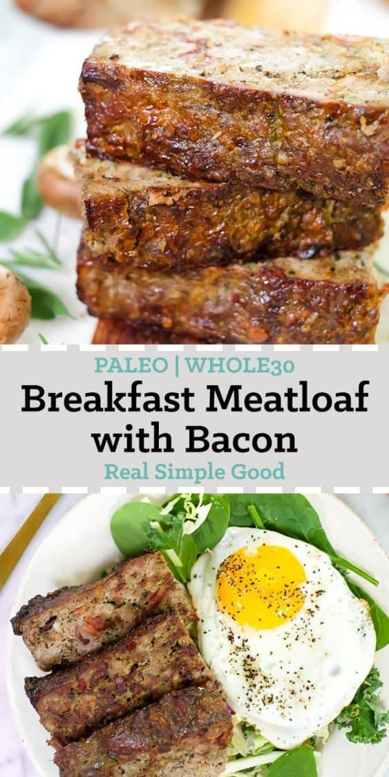 Breakfast meatloaf with bacon horizontal long pinterest image with text in middle