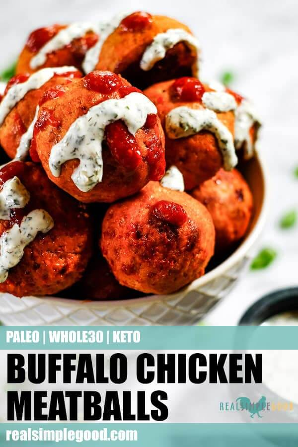 Buffalo chicken meatballs in a bowl with ranch and hot sauce dripping down. Long pin for pinterest.