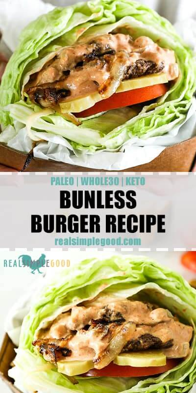 Bunless burger recipe long vertical image with text in middle for pinterest.
