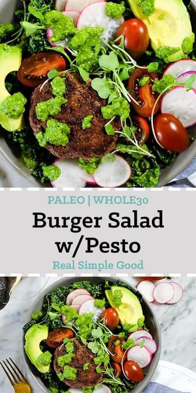 Burger salad bowl with pesto, kale, radish, tomatoes, avocado and micro greens long pin.