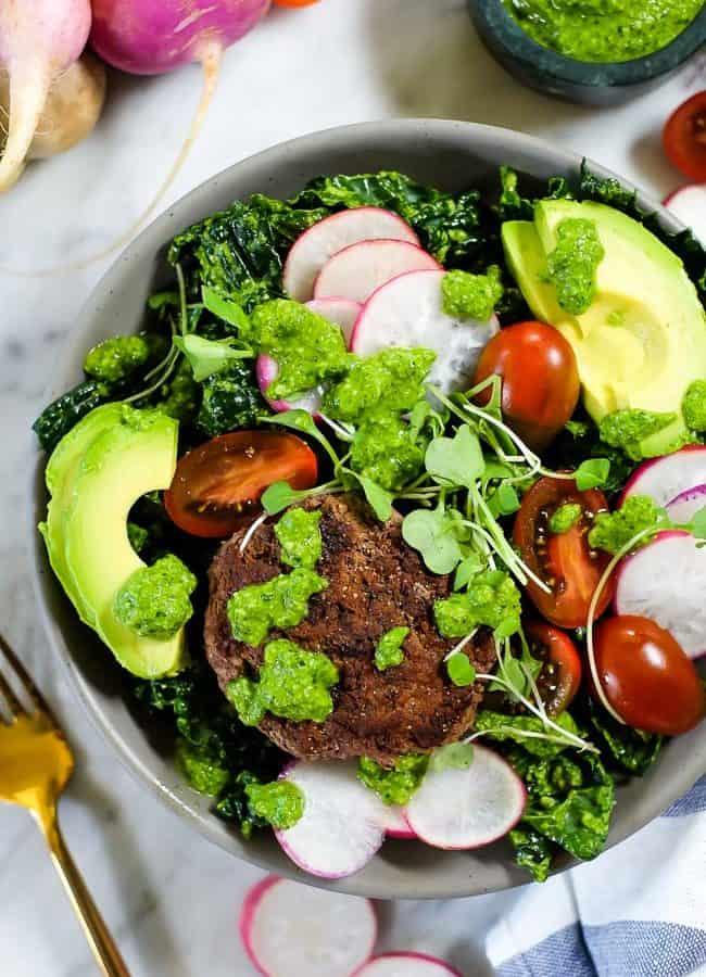 Burger Salad With Pesto (Paleo + Whole30)