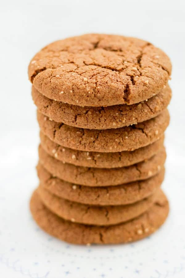Large stack of ginger molasses cookies