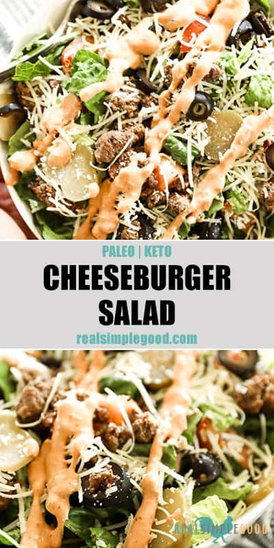 Two close up images of cheeseburger salad with text overlay in the middle for pinterest.